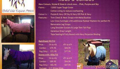 BelleVale Equine Attire 1200D Waterproof Turnout Rugs & Combos on HorseYard.com.au
